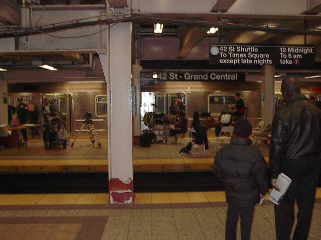 (92k, 640x480)<br><b>Country:</b> United States<br><b>City:</b> New York<br><b>System:</b> New York City Transit<br><b>Line:</b> IRT Times Square-Grand Central Shuttle<br><b>Location:</b> Grand Central <br><b>Photo by:</b> Bruce Fedow<br><b>Date:</b> 11/17/2005<br><b>Notes:</b> Grand Central shuttle station during a film/tv shoot.<br><b>Viewed (this week/total):</b> 0 / 3661