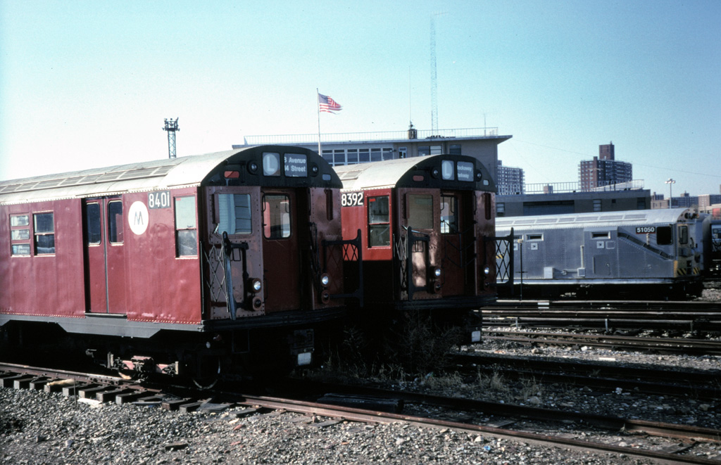 (247k, 1024x661)<br><b>Country:</b> United States<br><b>City:</b> New York<br><b>System:</b> New York City Transit<br><b>Location:</b> Coney Island Yard<br><b>Car:</b> R-30 (St. Louis, 1961) 8401/8392 <br><b>Photo by:</b> Chris Leverett<br><b>Date:</b> 12/8/1996<br><b>Notes:</b> With and Money Train 51050.<br><b>Viewed (this week/total):</b> 7 / 4681