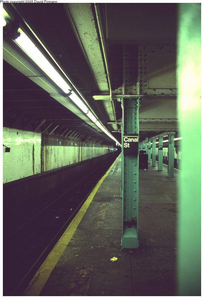 (154k, 712x1043)<br><b>Country:</b> United States<br><b>City:</b> New York<br><b>System:</b> New York City Transit<br><b>Line:</b> BMT Nassau Street/Jamaica Line<br><b>Location:</b> Canal Street <br><b>Photo by:</b> David Pirmann<br><b>Date:</b> 4/30/1999<br><b>Viewed (this week/total):</b> 0 / 2560