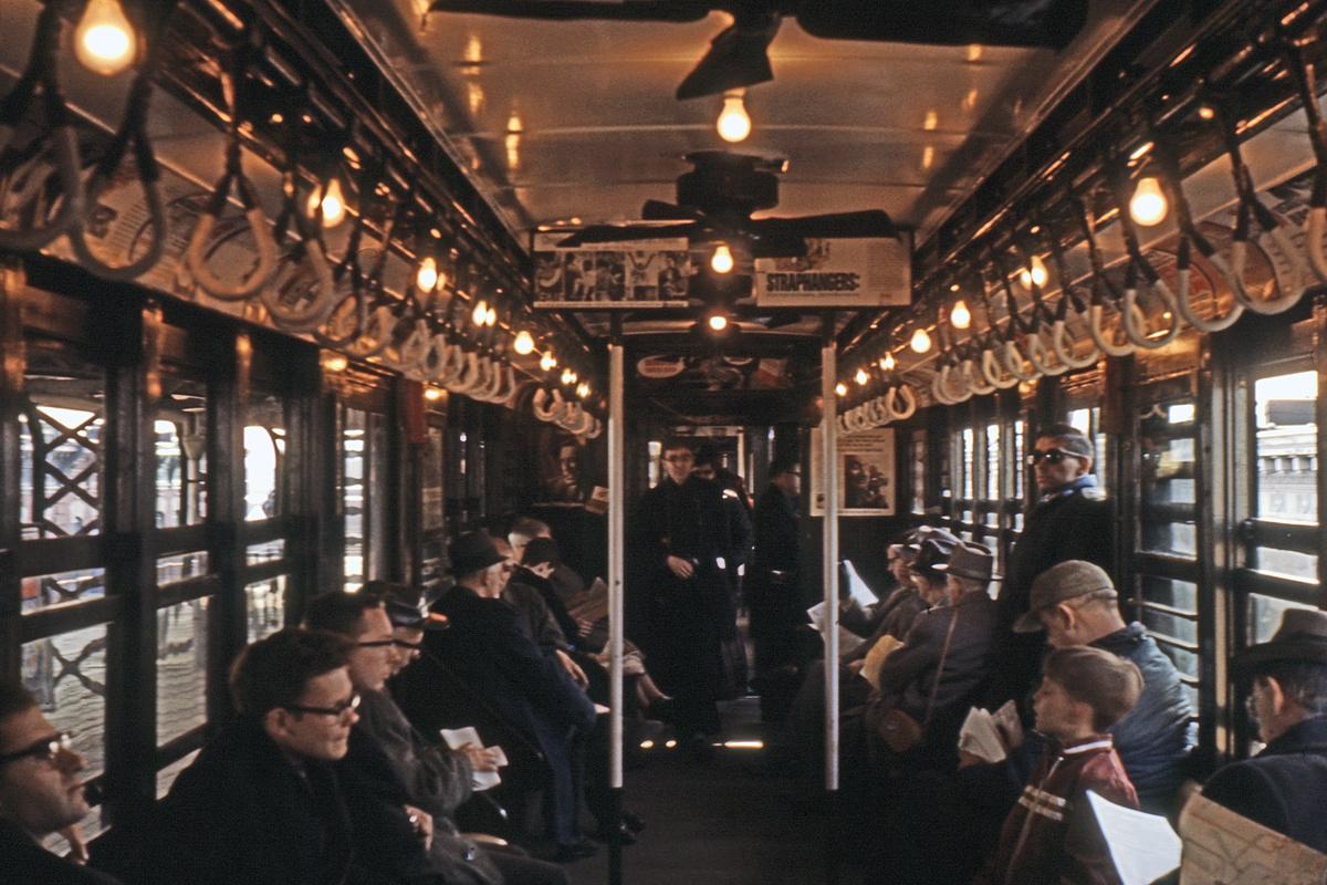 (290k, 1024x682)<br><b>Country:</b> United States<br><b>City:</b> New York<br><b>System:</b> New York City Transit<br><b>Route:</b> Fan Trip<br><b>Car:</b> Low-V (Museum Train) Interior <br><b>Collection of:</b> David Pirmann<br><b>Viewed (this week/total):</b> 0 / 1791