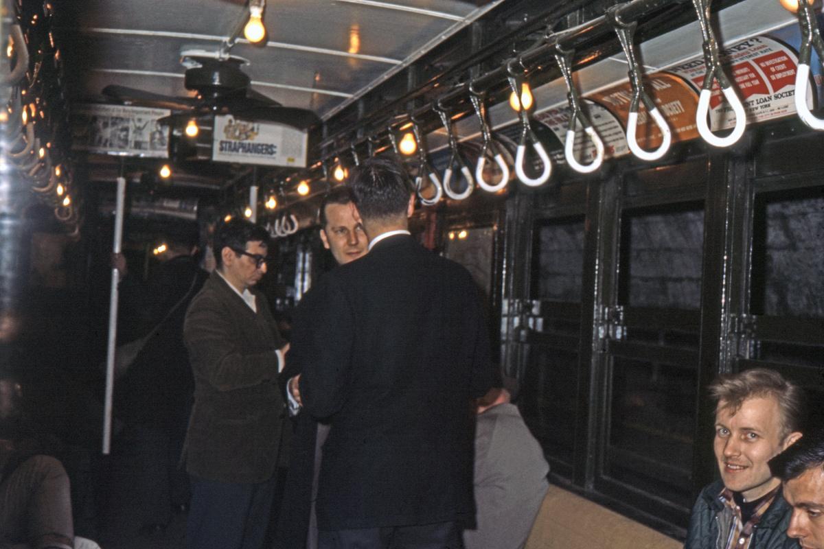 (307k, 1044x708)<br><b>Country:</b> United States<br><b>City:</b> New York<br><b>System:</b> New York City Transit<br><b>Route:</b> Fan Trip<br><b>Car:</b> Low-V (Museum Train) Interior <br><b>Collection of:</b> David Pirmann<br><b>Date:</b> 5/7/1966<br><b>Viewed (this week/total):</b> 0 / 1581