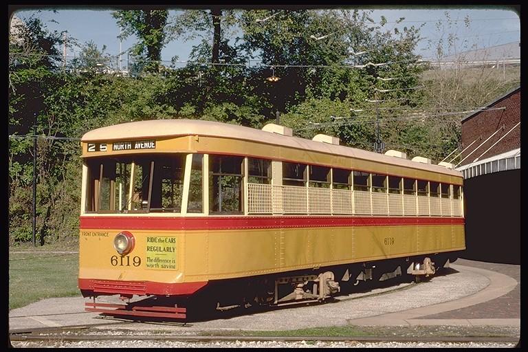 (175k, 768x512)<br><b>Country:</b> United States<br><b>City:</b> Baltimore, MD<br><b>System:</b> Baltimore Streetcar Museum <br><b>Car:</b>  6119 <br><b>Photo by:</b> Eric Oszustowicz<br><b>Collection of:</b> Joe Testagrose<br><b>Date:</b> 10/20/1990<br><b>Viewed (this week/total):</b> 3 / 1347