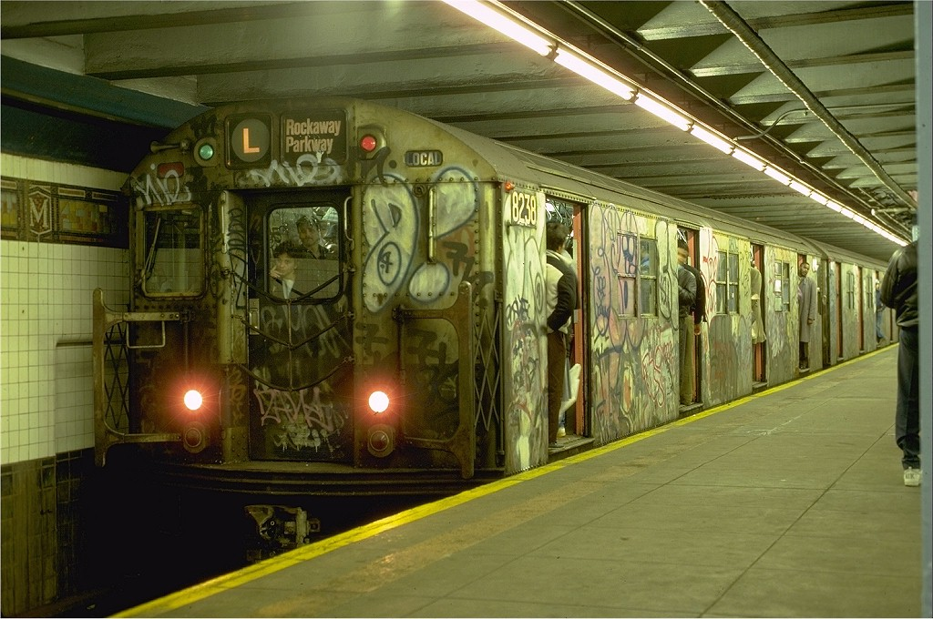 (208k, 1024x680)<br><b>Country:</b> United States<br><b>City:</b> New York<br><b>System:</b> New York City Transit<br><b>Line:</b> BMT Canarsie Line<br><b>Location:</b> Myrtle Avenue <br><b>Route:</b> L<br><b>Car:</b> R-27 (St. Louis, 1960)  8238 <br><b>Photo by:</b> Eric Oszustowicz<br><b>Collection of:</b> Joe Testagrose<br><b>Date:</b> 3/9/1987<br><b>Viewed (this week/total):</b> 1 / 7546