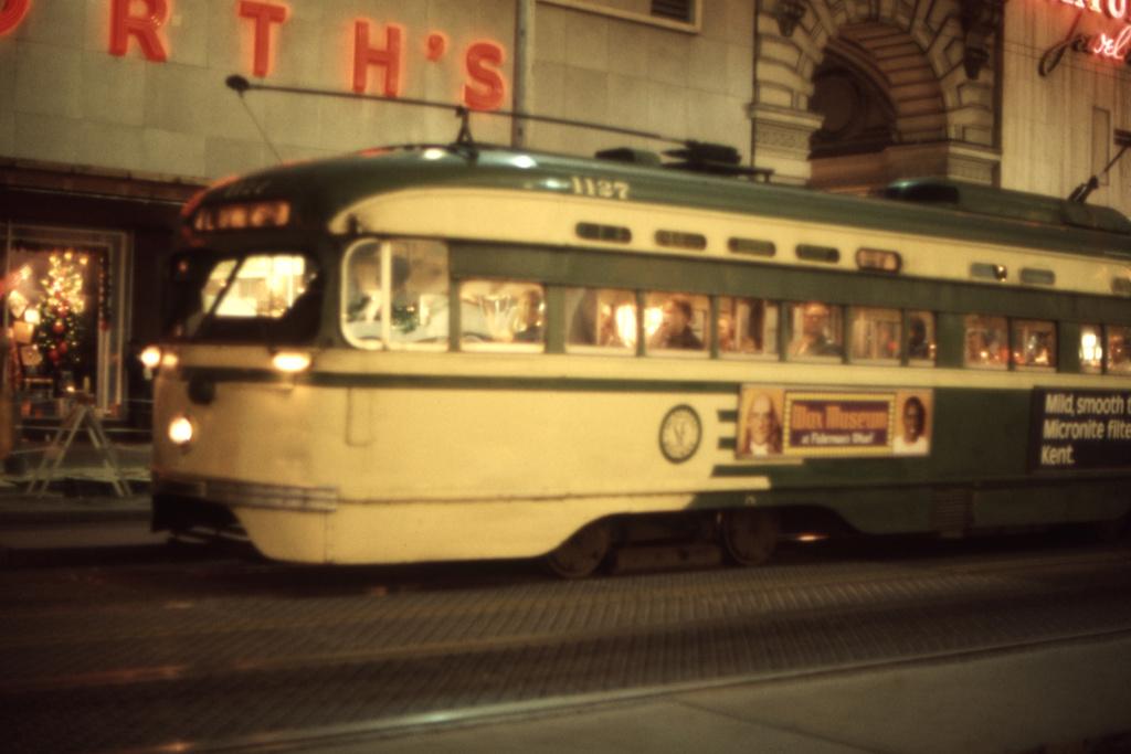 (222k, 1044x706)<br><b>Country:</b> United States<br><b>City:</b> San Francisco/Bay Area, CA<br><b>System:</b> SF MUNI<br><b>Location:</b> Market/5th <br><b>Car:</b> SF MUNI PCC St. Louis (St. Louis Car Co, 1946)  1127 <br><b>Collection of:</b> David Pirmann<br><b>Date:</b> 12/21/1972<br><b>Viewed (this week/total):</b> 2 / 2161