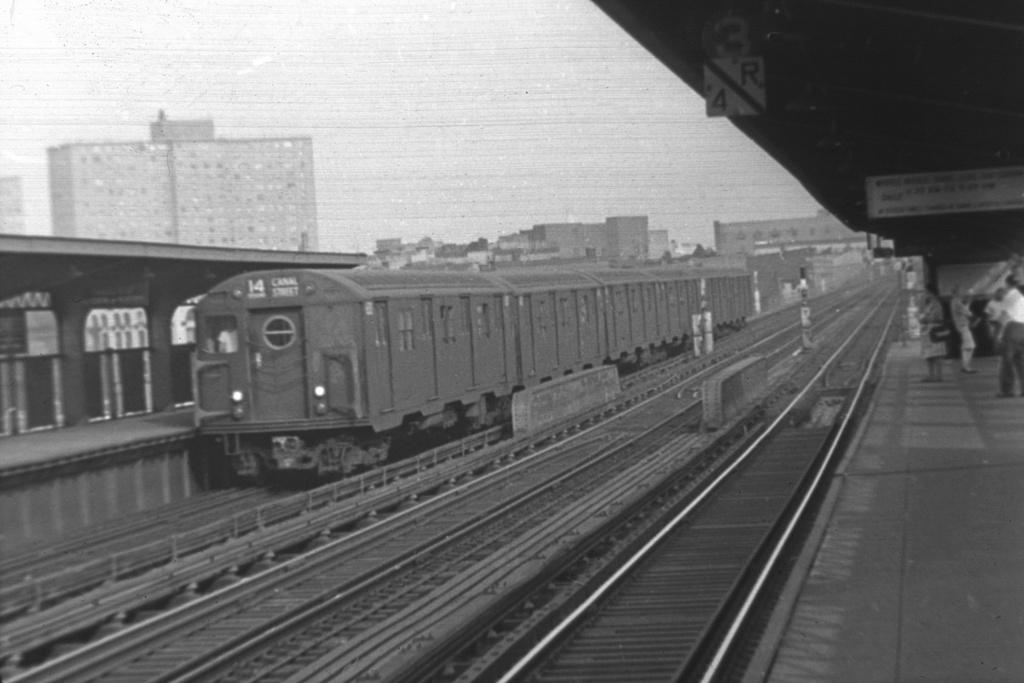 (217k, 1044x706)<br><b>Country:</b> United States<br><b>City:</b> New York<br><b>System:</b> New York City Transit<br><b>Line:</b> BMT Nassau Street/Jamaica Line<br><b>Location:</b> Lorimer Street <br><b>Route:</b> BMT 14<br><b>Car:</b> R-16 (American Car & Foundry, 1955)  <br><b>Collection of:</b> David Pirmann<br><b>Viewed (this week/total):</b> 4 / 2441