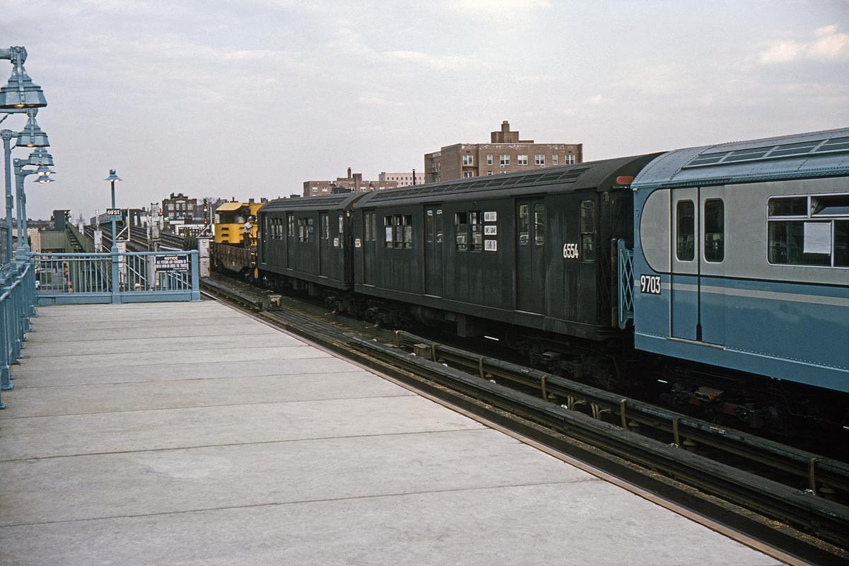 (337k, 1024x683)<br><b>Country:</b> United States<br><b>City:</b> New York<br><b>System:</b> New York City Transit<br><b>Line:</b> IRT Flushing Line<br><b>Location:</b> 69th Street/Fisk Avenue <br><b>Car:</b> R-17 (St. Louis, 1955-56) 6554 <br><b>Collection of:</b> David Pirmann<br><b>Date:</b> 4/18/1964<br><b>Viewed (this week/total):</b> 0 / 3047