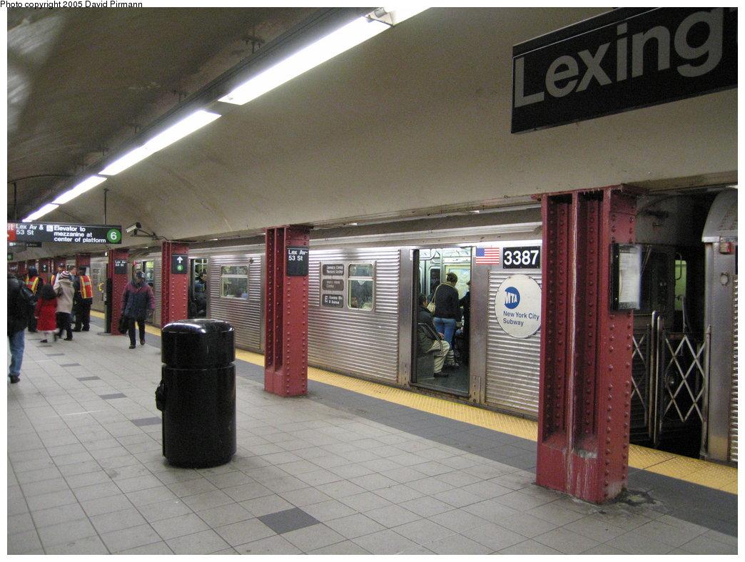 (180k, 1044x788)<br><b>Country:</b> United States<br><b>City:</b> New York<br><b>System:</b> New York City Transit<br><b>Line:</b> IND Queens Boulevard Line<br><b>Location:</b> Lexington Avenue-53rd Street <br><b>Route:</b> E<br><b>Car:</b> R-32 (Budd, 1964)  3387 <br><b>Photo by:</b> David Pirmann<br><b>Date:</b> 12/30/2005<br><b>Viewed (this week/total):</b> 0 / 4785