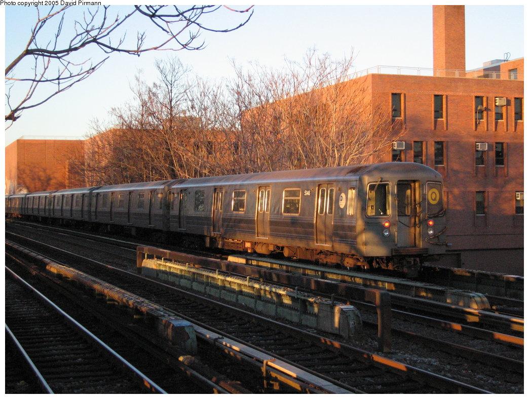 (221k, 1044x788)<br><b>Country:</b> United States<br><b>City:</b> New York<br><b>System:</b> New York City Transit<br><b>Line:</b> BMT Brighton Line<br><b>Location:</b> Avenue M <br><b>Route:</b> Q<br><b>Car:</b> R-68A (Kawasaki, 1988-1989)  5146 <br><b>Photo by:</b> David Pirmann<br><b>Date:</b> 12/30/2005<br><b>Viewed (this week/total):</b> 0 / 2313