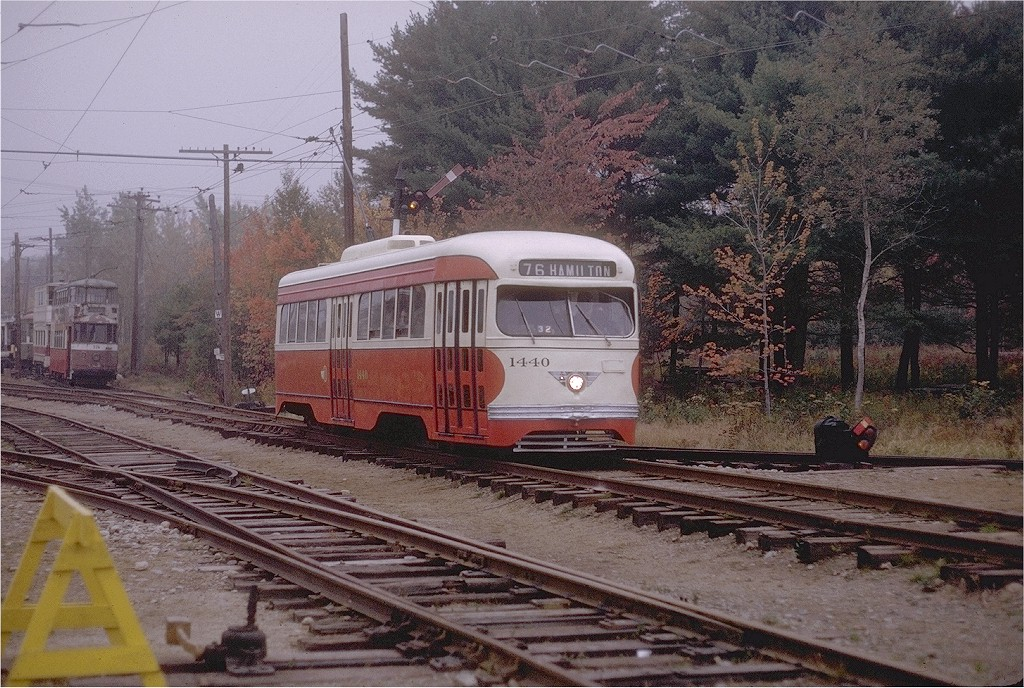 (267k, 1024x688)<br><b>Country:</b> United States<br><b>City:</b> Kennebunk, ME<br><b>System:</b> Seashore Trolley Museum <br><b>Car:</b> Pittsburgh Railways/PAT PCC 1440 <br><b>Photo by:</b> Joe Testagrose<br><b>Date:</b> 10/10/1970<br><b>Viewed (this week/total):</b> 2 / 1028