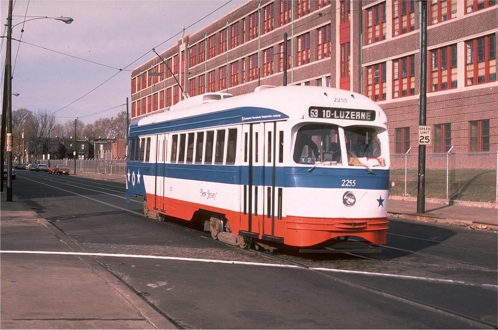 (221k, 1024x679)<br><b>Country:</b> United States<br><b>City:</b> Philadelphia, PA<br><b>System:</b> SEPTA (or Predecessor)<br><b>Location:</b> Luzerne Depot <br><b>Route:</b> Fan Trip<br><b>Car:</b> PTC/SEPTA ex-Kansas City PCC (St.Louis, 1946)  2255 <br><b>Photo by:</b> Ed McKernan<br><b>Collection of:</b> Joe Testagrose<br><b>Date:</b> 11/21/1976<br><b>Viewed (this week/total):</b> 3 / 1132