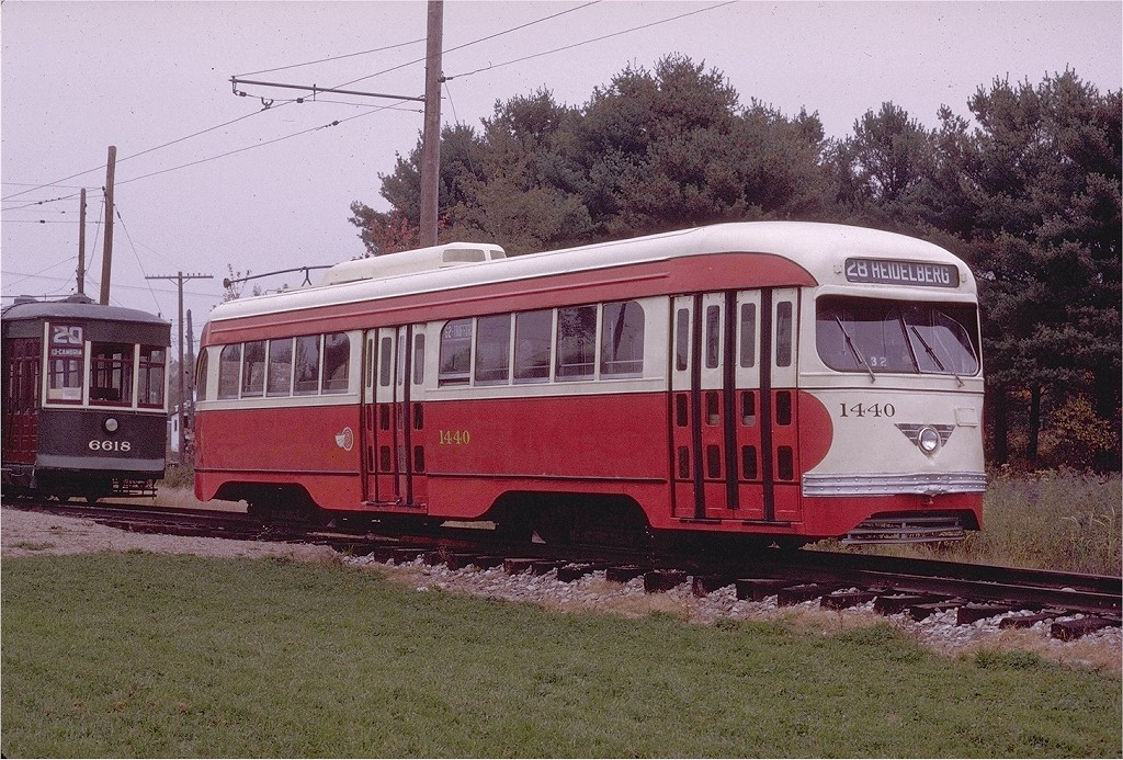 (273k, 1024x693)<br><b>Country:</b> United States<br><b>City:</b> Kennebunk, ME<br><b>System:</b> Seashore Trolley Museum <br><b>Car:</b> Pittsburgh Railways/PAT PCC 1440 <br><b>Photo by:</b> Joe Testagrose<br><b>Date:</b> 10/11/1970<br><b>Viewed (this week/total):</b> 0 / 1308