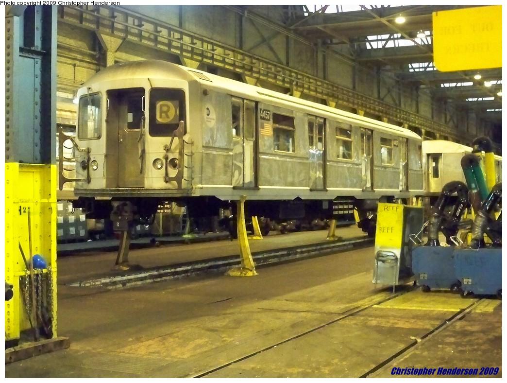 (223k, 1044x788)<br><b>Country:</b> United States<br><b>City:</b> New York<br><b>System:</b> New York City Transit<br><b>Location:</b> 207th Street Shop<br><b>Car:</b> R-40M (St. Louis, 1969)  4457 <br><b>Photo by:</b> Christopher Henderson<br><b>Date:</b> 8/2/2009<br><b>Viewed (this week/total):</b> 5 / 1643