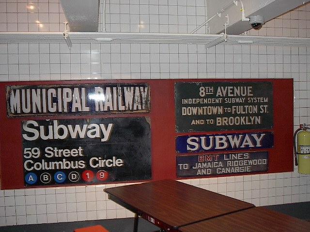 (102k, 640x480)<br><b>Country:</b> United States<br><b>City:</b> New York<br><b>System:</b> New York City Transit<br><b>Location:</b> New York Transit Museum<br><b>Photo by:</b> Bruce Fedow<br><b>Date:</b> 12/28/2005<br><b>Notes:</b> Signage collection at Transit Museum.<br><b>Viewed (this week/total):</b> 1 / 2948