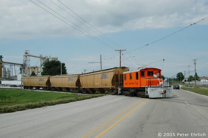 (108k, 720x478)<br><b>Country:</b> United States<br><b>City:</b> Mason City, IA<br><b>System:</b> Iowa Traction<br><b>Location:</b> Iowa Traction--AGP Soybean/S. 19th Street/UP and IC&E Interchange Area<br><b>Car:</b>  54 <br><b>Photo by:</b> Peter Ehrlich<br><b>Date:</b> 8/31/2005<br><b>Notes:</b> Crossing 19th Street.<br><b>Viewed (this week/total):</b> 1 / 1769