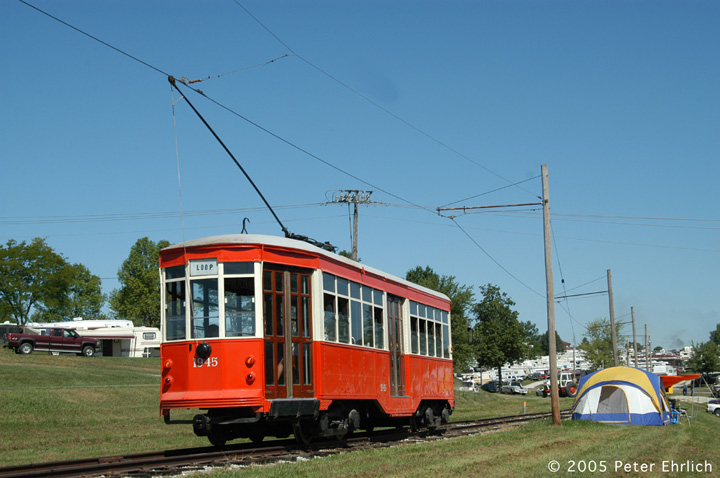 (129k, 720x478)<br><b>Country:</b> United States<br><b>City:</b> Mt. Pleasant, IA<br><b>System:</b> Midwest Old Threshers Museum <br><b>Location:</b> Midwest Threshers Museum -- Gate<br><b>Car:</b> Milan Milano/Peter Witt (1927-1930)  1945 <br><b>Photo by:</b> Peter Ehrlich<br><b>Date:</b> 9/1/2005<br><b>Notes:</b> #1945; Departing Gate stop (main entrance for campers/trailers).<br><b>Viewed (this week/total):</b> 0 / 1495