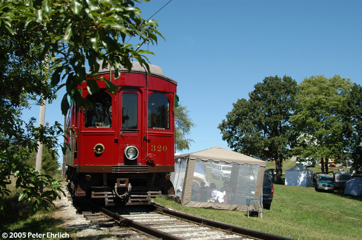 (201k, 720x478)<br><b>Country:</b> United States<br><b>City:</b> Mt. Pleasant, IA<br><b>System:</b> Midwest Old Threshers Museum <br><b>Location:</b> Midwest Threshers Museum -- South Forty<br><b>Car:</b>  320 <br><b>Photo by:</b> Peter Ehrlich<br><b>Date:</b> 9/1/2005<br><b>Notes:</b> #320; Approaching South Forty stop.<br><b>Viewed (this week/total):</b> 1 / 1395