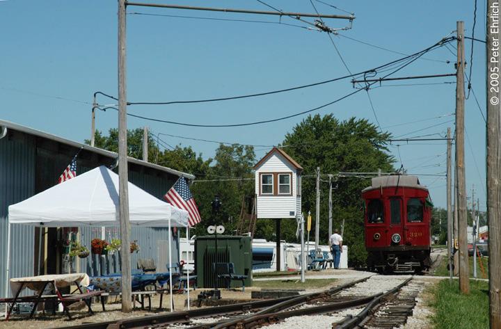 (154k, 720x473)<br><b>Country:</b> United States<br><b>City:</b> Mt. Pleasant, IA<br><b>System:</b> Midwest Old Threshers Museum <br><b>Location:</b> Midwest Threshers Museum -- Trolley Barn<br><b>Car:</b>  320 <br><b>Photo by:</b> Peter Ehrlich<br><b>Date:</b> 9/1/2005<br><b>Notes:</b> CA&E 320 at Trolley Barn stop.<br><b>Viewed (this week/total):</b> 0 / 1623