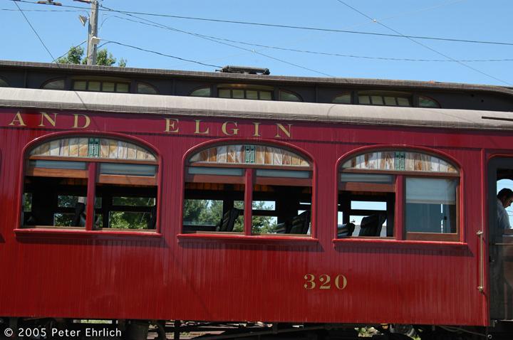 (133k, 720x478)<br><b>Country:</b> United States<br><b>City:</b> Mt. Pleasant, IA<br><b>System:</b> Midwest Old Threshers Museum <br><b>Car:</b>  320 <br><b>Photo by:</b> Peter Ehrlich<br><b>Date:</b> 9/1/2005<br><b>Notes:</b> CA&E 320's windows.<br><b>Viewed (this week/total):</b> 1 / 1384