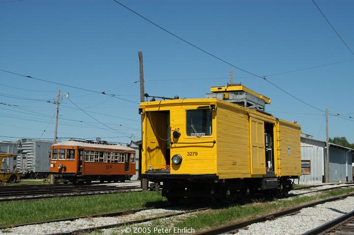 (135k, 720x478)<br><b>Country:</b> United States<br><b>City:</b> Mt. Pleasant, IA<br><b>System:</b> Midwest Old Threshers Museum <br><b>Location:</b> Midwest Threshers Museum -- Trolley Barn<br><b>Car:</b> MBTA 3279 <br><b>Photo by:</b> Peter Ehrlich<br><b>Date:</b> 9/1/2005<br><b>Notes:</b> MBTA Line Car 3279 at the Trolley Barn.<br><b>Viewed (this week/total):</b> 2 / 2596