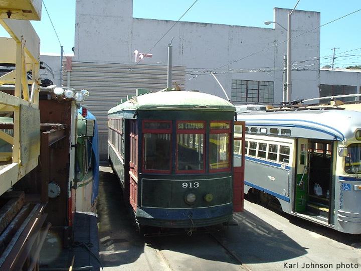 (176k, 720x540)<br><b>Country:</b> United States<br><b>City:</b> San Francisco/Bay Area, CA<br><b>System:</b> SF MUNI<br><b>Location:</b> Geneva Yard <br><b>Car:</b> New Orleans Public Service (Perley A. Thomas Car Works, 1924) 913 <br><b>Photo by:</b> Karl Johnson<br><b>Collection of:</b> Peter Ehrlich<br><b>Date:</b> 8/29/2005<br><b>Notes:</b> Just after unloading.<br><b>Viewed (this week/total):</b> 3 / 1465