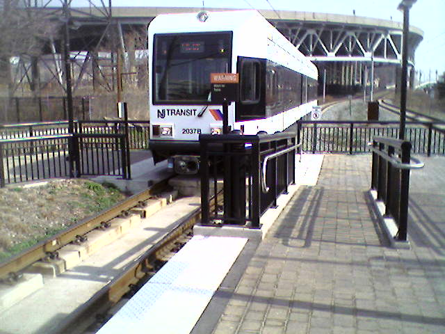 (55k, 640x480)<br><b>Country:</b> United States<br><b>City:</b> Weehawken, NJ<br><b>System:</b> Hudson Bergen Light Rail<br><b>Location:</b> Lincoln Harbor <br><b>Car:</b> NJT-HBLR LRV (Kinki-Sharyo, 1998-99)  2037 <br><b>Photo by:</b> Pablo Maneiro<br><b>Date:</b> 4/1/2006<br><b>Viewed (this week/total):</b> 0 / 2154