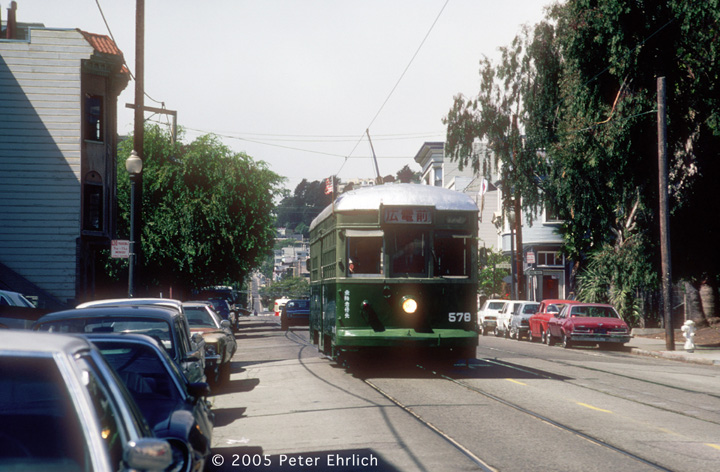 (156k, 720x472)<br><b>Country:</b> United States<br><b>City:</b> San Francisco/Bay Area, CA<br><b>System:</b> SF MUNI<br><b>Location:</b> 17th/Sanchez <br><b>Car:</b> SF MUNI Kobe/Hiroshima Tram 578J <br><b>Photo by:</b> Peter Ehrlich<br><b>Date:</b> 9/3/1986<br><b>Viewed (this week/total):</b> 0 / 821