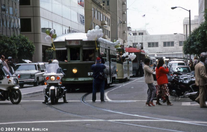 (166k, 864x552)<br><b>Country:</b> United States<br><b>City:</b> San Francisco/Bay Area, CA<br><b>System:</b> SF MUNI<br><b>Location:</b> Market/Fremont<br><b>Car:</b> SF MUNI Kobe/Hiroshima Tram 578J <br><b>Photo by:</b> Peter Ehrlich<br><b>Date:</b> 5/19/1986<br><b>Notes:</b> Opening Day of the 1986 Trolley Festival, and the debut for Kobe/Hiroshima 578J.<br><b>Viewed (this week/total):</b> 1 / 1086