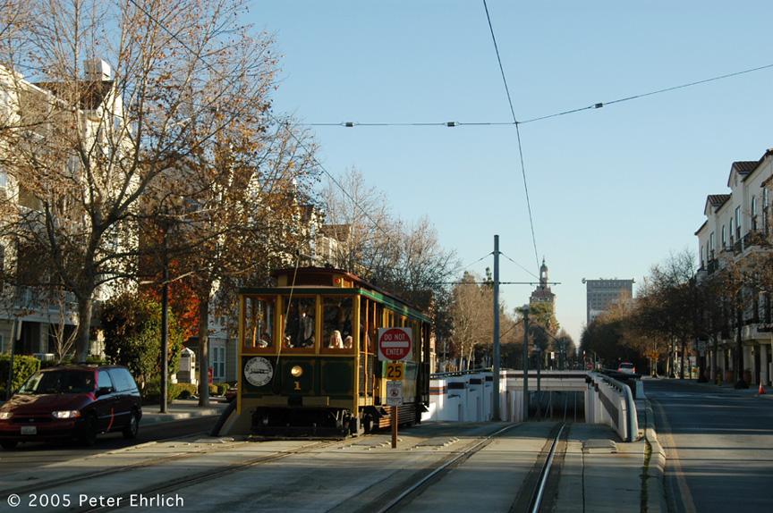 (248k, 864x574)<br><b>Country:</b> United States<br><b>City:</b> San Jose, CA<br><b>System:</b> Santa Clara VTA<br><b>Line:</b> VTA 1st St/Downtown/St. Teresa<br><b>Location:</b> N. 1st & Hensley <br><b>Car:</b>  1 <br><b>Photo by:</b> Peter Ehrlich<br><b>Date:</b> 12/10/2005<br><b>Notes:</b> Santa Clara Interurban R.R. Co. 1; After passing under UP underpass south of N. 1st/Hensley northbound.<br><b>Viewed (this week/total):</b> 3 / 2103