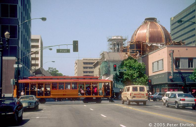 (162k, 792x513)<br><b>Country:</b> United States<br><b>City:</b> San Jose, CA<br><b>System:</b> Santa Clara VTA<br><b>Line:</b> VTA 1st St/Downtown/St. Teresa<br><b>Location:</b> Transit Mall-San Fernando <br><b>Car:</b>  73 <br><b>Photo by:</b> Peter Ehrlich<br><b>Date:</b> 5/12/1989<br><b>Notes:</b> Peninsular Railway 73; At 1st Street/San Fernando.  St. Joseph's Cathedral Basilica is in the background.<br><b>Viewed (this week/total):</b> 0 / 1632