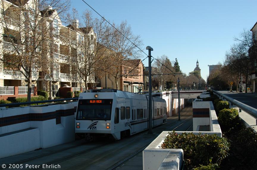 (247k, 864x574)<br><b>Country:</b> United States<br><b>City:</b> San Jose, CA<br><b>System:</b> Santa Clara VTA<br><b>Line:</b> VTA 1st St/Downtown/St. Teresa<br><b>Location:</b> N. 1st & Hensley <br><b>Car:</b> VTA Kinki-Sharyo 926 <br><b>Photo by:</b> Peter Ehrlich<br><b>Date:</b> 12/10/2005<br><b>Notes:</b> Outbound (northbound) car passing under the Union Pacific south of N. 1st/Hensley.<br><b>Viewed (this week/total):</b> 0 / 1617