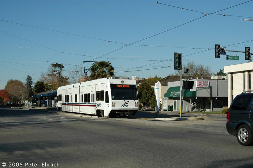 (162k, 864x574)<br><b>Country:</b> United States<br><b>City:</b> San Jose, CA<br><b>System:</b> Santa Clara VTA<br><b>Line:</b> VTA 1st St/Downtown/St. Teresa<br><b>Location:</b> Civic Center <br><b>Car:</b> VTA Kinki-Sharyo 975 <br><b>Photo by:</b> Peter Ehrlich<br><b>Date:</b> 12/10/2005<br><b>Notes:</b> At Civic Center Station inbound.<br><b>Viewed (this week/total):</b> 1 / 1499