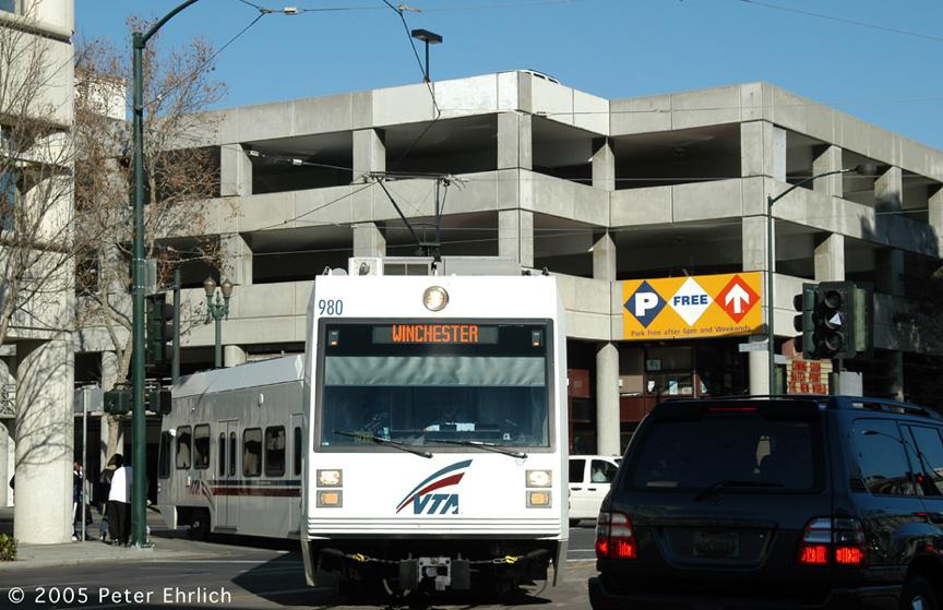 (200k, 864x559)<br><b>Country:</b> United States<br><b>City:</b> San Jose, CA<br><b>System:</b> Santa Clara VTA<br><b>Line:</b> VTA 1st St/Downtown/St. Teresa<br><b>Location:</b> Transit Mall - San Carlos <br><b>Car:</b> VTA Kinki-Sharyo 980 <br><b>Photo by:</b> Peter Ehrlich<br><b>Date:</b> 12/19/2005<br><b>Notes:</b> At 2nd/San Carlos.<br><b>Viewed (this week/total):</b> 0 / 1409