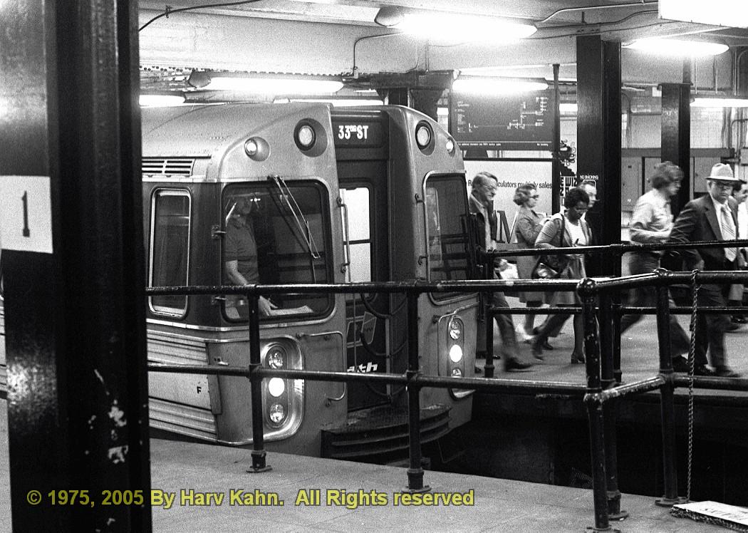 (279k, 1050x748)<br><b>Country:</b> United States<br><b>City:</b> New York<br><b>System:</b> PATH<br><b>Location:</b> 33rd Street <br><b>Car:</b> PATH PA-3 (Hawker-Siddley, 1972)  766 <br><b>Photo by:</b> Harv Kahn<br><b>Date:</b> 5/31/1975<br><b>Viewed (this week/total):</b> 1 / 3164