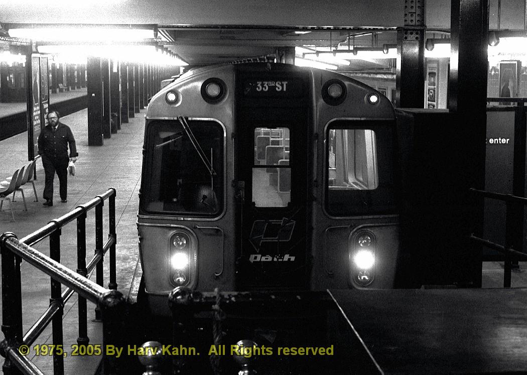 (255k, 1050x748)<br><b>Country:</b> United States<br><b>City:</b> New York<br><b>System:</b> PATH<br><b>Location:</b> 33rd Street <br><b>Car:</b> PATH PA-3 (Hawker-Siddley, 1972)  766 <br><b>Photo by:</b> Harv Kahn<br><b>Date:</b> 5/31/1975<br><b>Viewed (this week/total):</b> 3 / 2968