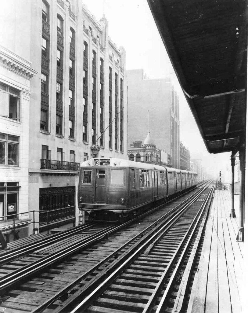 (169k, 813x1024)<br><b>Country:</b> United States<br><b>City:</b> New York<br><b>System:</b> New York City Transit<br><b>Line:</b> BMT Fulton<br><b>Location:</b> Elm Place/Duffield Street <br><b>Car:</b> BMT Green Hornet  <br><b>Collection of:</b> Frank Pfuhler<br><b>Viewed (this week/total):</b> 3 / 3628