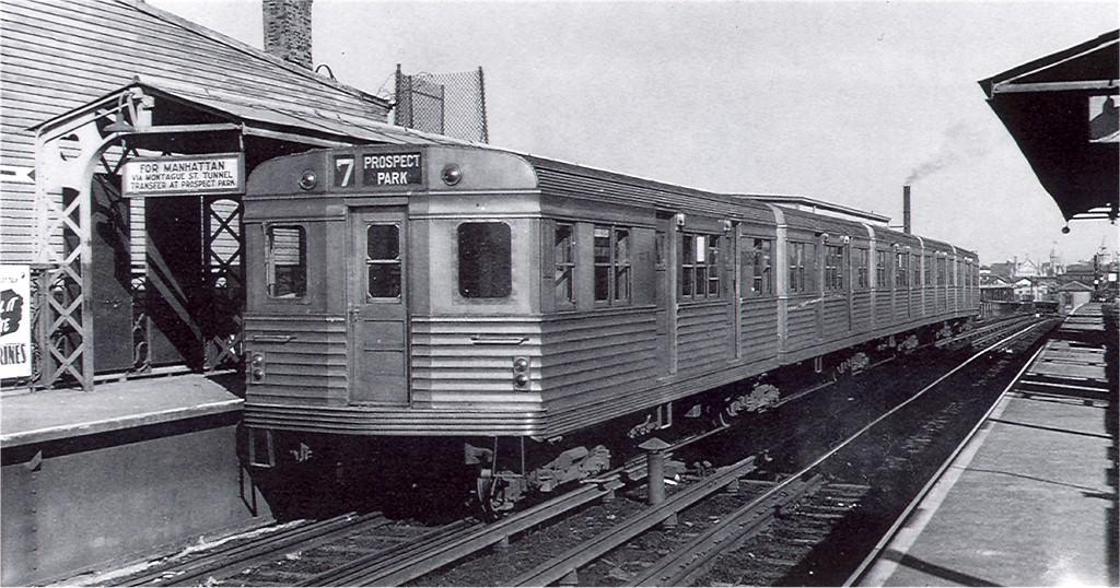 (196k, 1024x538)<br><b>Country:</b> United States<br><b>City:</b> New York<br><b>System:</b> New York City Transit<br><b>Line:</b> BMT Franklin<br><b>Location:</b> Dean Street <br><b>Car:</b> BMT Zephyr 7029 <br><b>Photo by:</b> Ed Watson/Arthur Lonto Collection<br><b>Collection of:</b> Joe Testagrose<br><b>Date:</b> 1943<br><b>Viewed (this week/total):</b> 5 / 4392