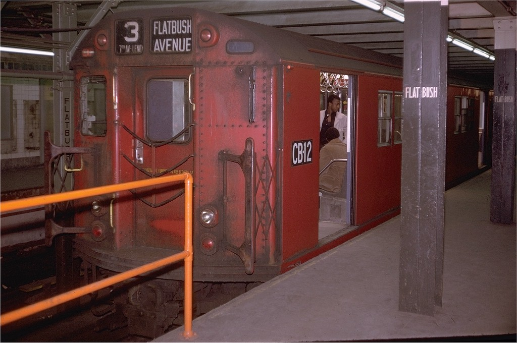 (177k, 1024x680)<br><b>Country:</b> United States<br><b>City:</b> New York<br><b>System:</b> New York City Transit<br><b>Line:</b> IRT Brooklyn Line<br><b>Location:</b> Flatbush Avenue <br><b>Route:</b> 3<br><b>Car:</b> R-36 Main Line (St. Louis, 1964) CB12 (ex-9532)<br><b>Photo by:</b> Doug Grotjahn<br><b>Collection of:</b> Joe Testagrose<br><b>Date:</b> 4/4/1970<br><b>Viewed (this week/total):</b> 0 / 3242