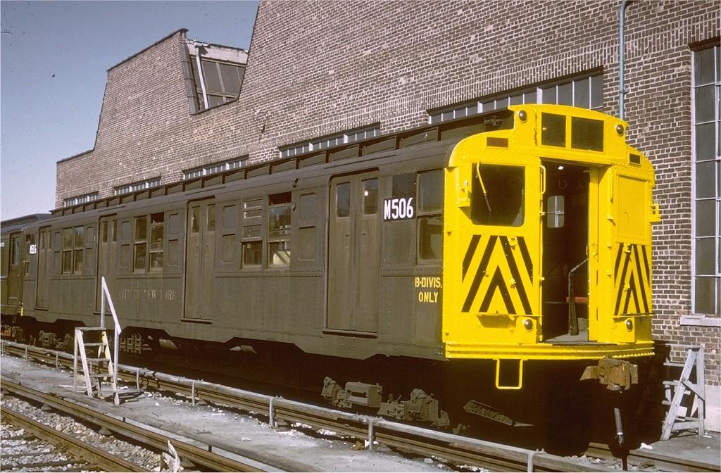 (252k, 1024x672)<br><b>Country:</b> United States<br><b>City:</b> New York<br><b>System:</b> New York City Transit<br><b>Location:</b> Coney Island Yard<br><b>Car:</b> R-4 (American Car & Foundry, 1932-1933) M506 (ex-493)<br><b>Photo by:</b> Steve Zabel<br><b>Collection of:</b> Joe Testagrose<br><b>Viewed (this week/total):</b> 0 / 1684