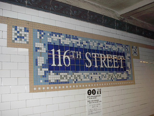 (105k, 640x480)<br><b>Country:</b> United States<br><b>City:</b> New York<br><b>System:</b> New York City Transit<br><b>Line:</b> IRT Lenox Line<br><b>Location:</b> 116th Street <br><b>Photo by:</b> Bruce Fedow<br><b>Date:</b> 1/19/2006<br><b>Viewed (this week/total):</b> 2 / 2610