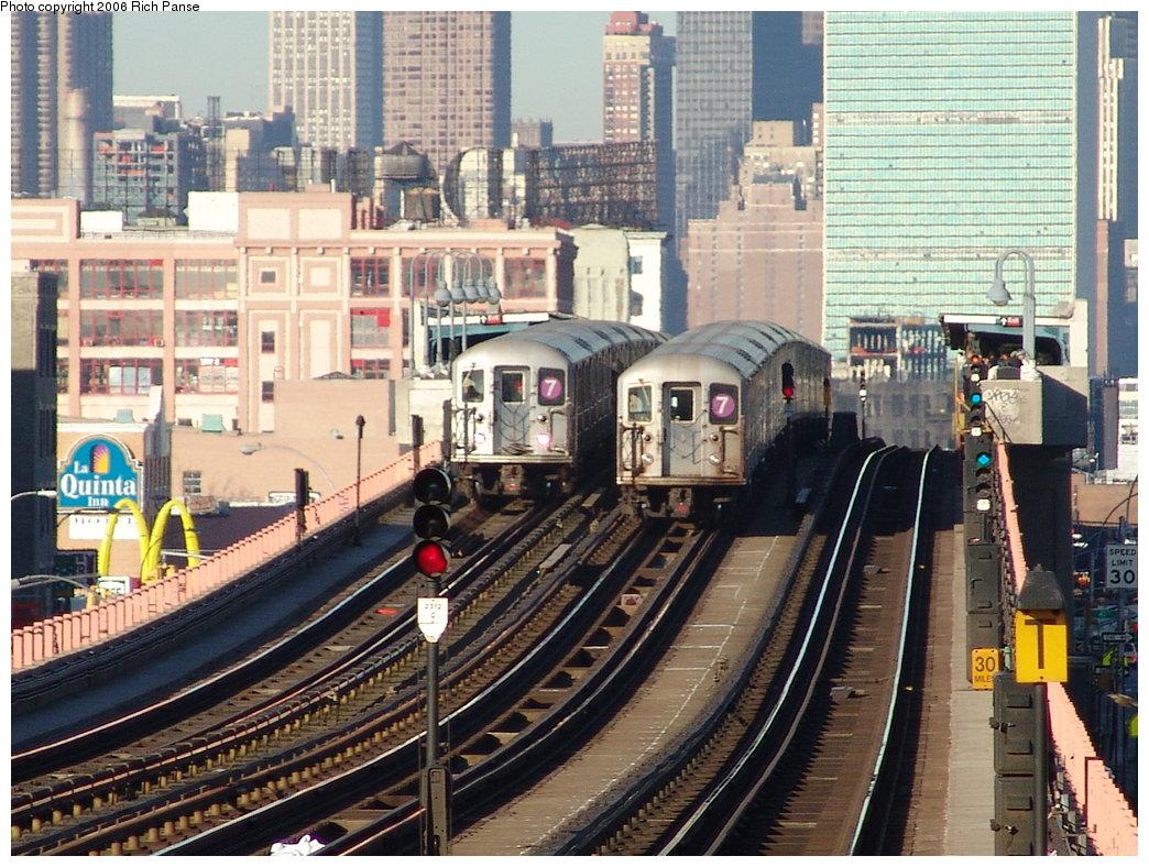(251k, 1044x788)<br><b>Country:</b> United States<br><b>City:</b> New York<br><b>System:</b> New York City Transit<br><b>Line:</b> IRT Flushing Line<br><b>Location:</b> 46th Street/Bliss Street <br><b>Route:</b> 7<br><b>Car:</b> R-62A (Bombardier, 1984-1987)   <br><b>Photo by:</b> Richard Panse<br><b>Date:</b> 1/27/2006<br><b>Viewed (this week/total):</b> 0 / 3063