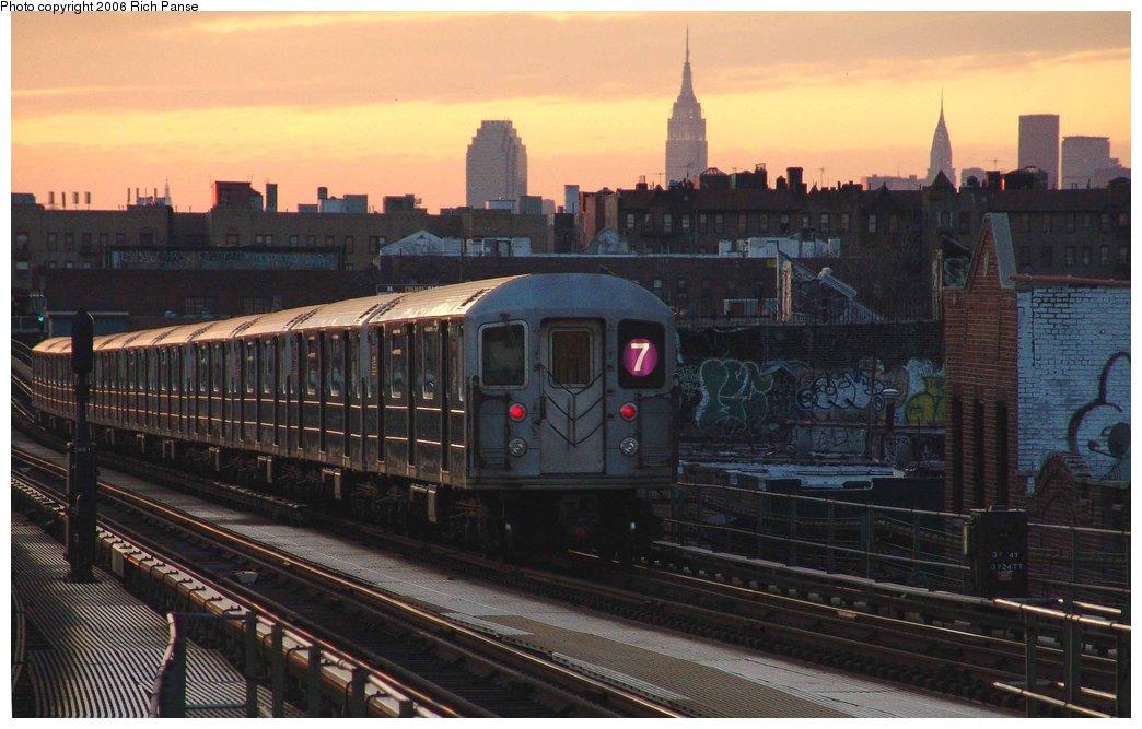 (159k, 1044x667)<br><b>Country:</b> United States<br><b>City:</b> New York<br><b>System:</b> New York City Transit<br><b>Line:</b> IRT Flushing Line<br><b>Location:</b> Junction Boulevard <br><b>Route:</b> 7<br><b>Car:</b> R-62A (Bombardier, 1984-1987)   <br><b>Photo by:</b> Richard Panse<br><b>Date:</b> 1/24/2006<br><b>Viewed (this week/total):</b> 1 / 3360