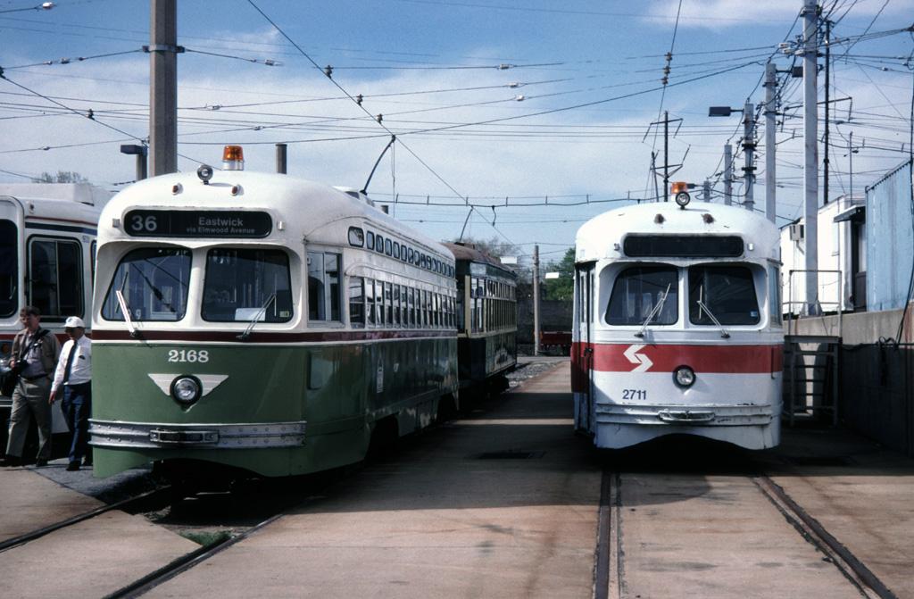 (253k, 1024x671)<br><b>Country:</b> United States<br><b>City:</b> Philadelphia, PA<br><b>System:</b> SEPTA (or Predecessor)<br><b>Location:</b> Elmwood Depot <br><b>Car:</b> PTC/SEPTA Postwar All-electric PCC (St.Louis, 1948)  2168 <br><b>Photo by:</b> Chris Leverett<br><b>Date:</b> 5/2/1999<br><b>Viewed (this week/total):</b> 0 / 1325