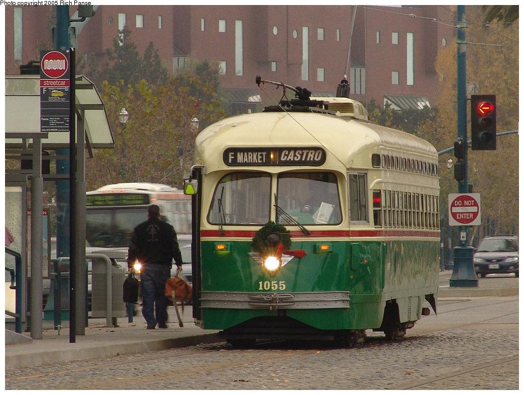 (208k, 1044x788)<br><b>Country:</b> United States<br><b>City:</b> San Francisco/Bay Area, CA<br><b>System:</b> SF MUNI<br><b>Location:</b> Jones/Beach <br><b>Route:</b> F-Market<br><b>Car:</b> SF MUNI PCC (Ex-SEPTA) (St. Louis Car Co., 1947-1948)  1055 <br><b>Photo by:</b> Richard Panse<br><b>Date:</b> 12/16/2005<br><b>Viewed (this week/total):</b> 0 / 794