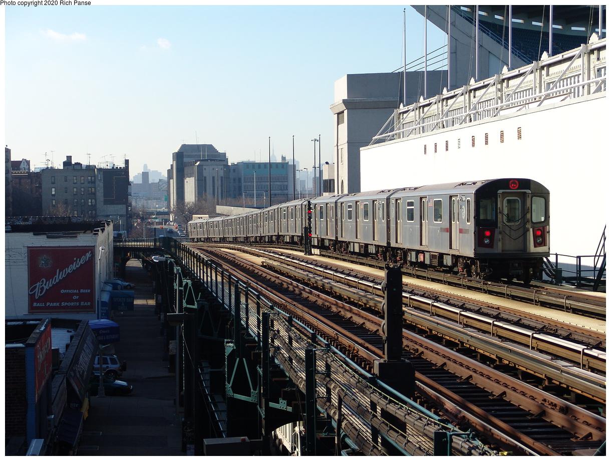 (275k, 1044x788)<br><b>Country:</b> United States<br><b>City:</b> New York<br><b>System:</b> New York City Transit<br><b>Line:</b> IRT Woodlawn Line<br><b>Location:</b> 161st Street/River Avenue (Yankee Stadium) <br><b>Route:</b> 4<br><b>Car:</b> R-142 (Option Order, Bombardier, 2002-2003)  7106 <br><b>Photo by:</b> Richard Panse<br><b>Date:</b> 1/24/2006<br><b>Viewed (this week/total):</b> 1 / 4298