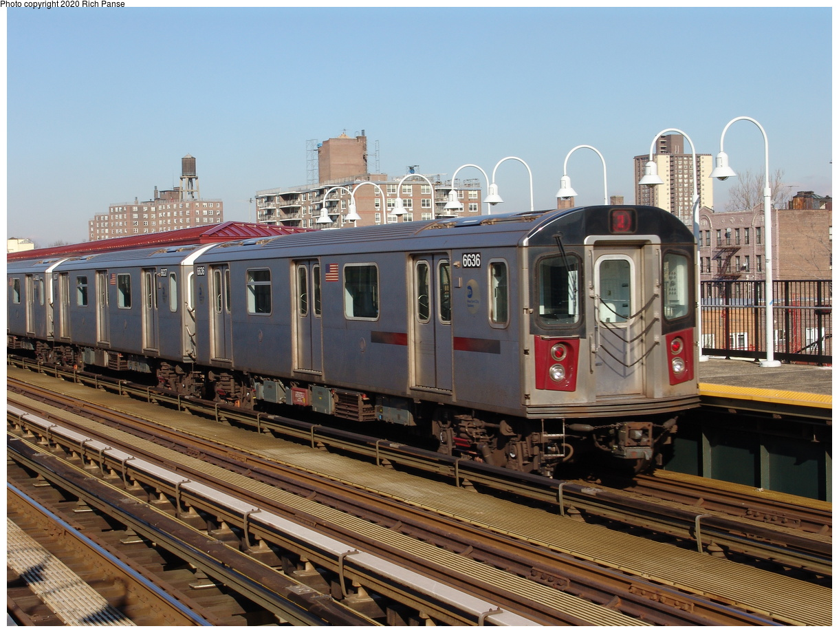 (267k, 1044x788)<br><b>Country:</b> United States<br><b>City:</b> New York<br><b>System:</b> New York City Transit<br><b>Line:</b> IRT White Plains Road Line<br><b>Location:</b> Burke Avenue <br><b>Route:</b> 2<br><b>Car:</b> R-142 (Primary Order, Bombardier, 1999-2002)  6636 <br><b>Photo by:</b> Richard Panse<br><b>Date:</b> 1/24/2006<br><b>Viewed (this week/total):</b> 2 / 4537