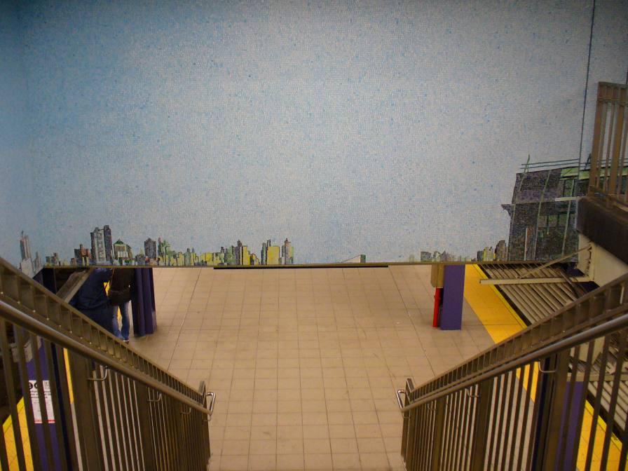(102k, 896x672)<br><b>Country:</b> United States<br><b>City:</b> New York<br><b>System:</b> New York City Transit<br><b>Line:</b> IND Queens Boulevard Line<br><b>Location:</b> Queens Plaza <br><b>Photo by:</b> Robbie Rosenfeld<br><b>Date:</b> 2/2/2006<br><b>Artwork:</b> <i>Look Up Not Down</i>, Ellen Harvey (2005).<br><b>Viewed (this week/total):</b> 0 / 3210