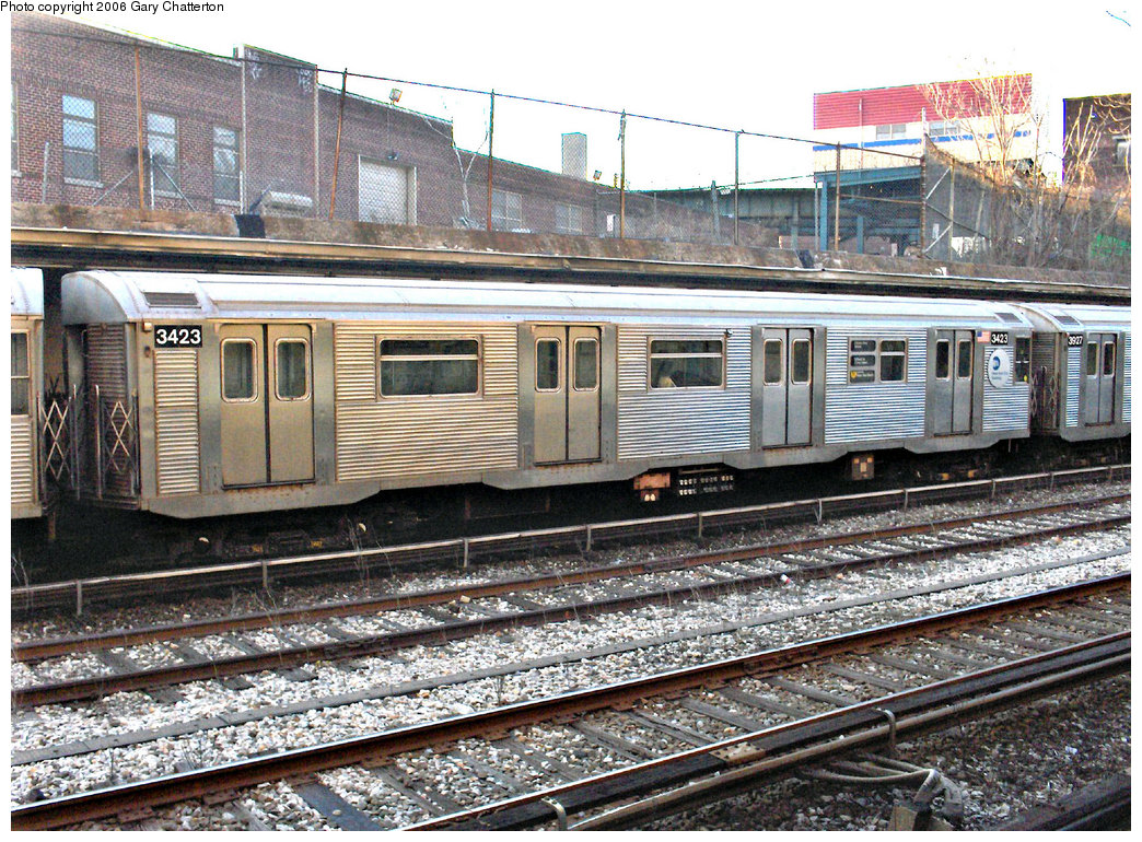 (340k, 1044x770)<br><b>Country:</b> United States<br><b>City:</b> New York<br><b>System:</b> New York City Transit<br><b>Line:</b> BMT Sea Beach Line<br><b>Location:</b> New Utrecht Avenue <br><b>Route:</b> N<br><b>Car:</b> R-32 (Budd, 1964)  3423 <br><b>Photo by:</b> Gary Chatterton<br><b>Date:</b> 2/6/2006<br><b>Viewed (this week/total):</b> 1 / 3435