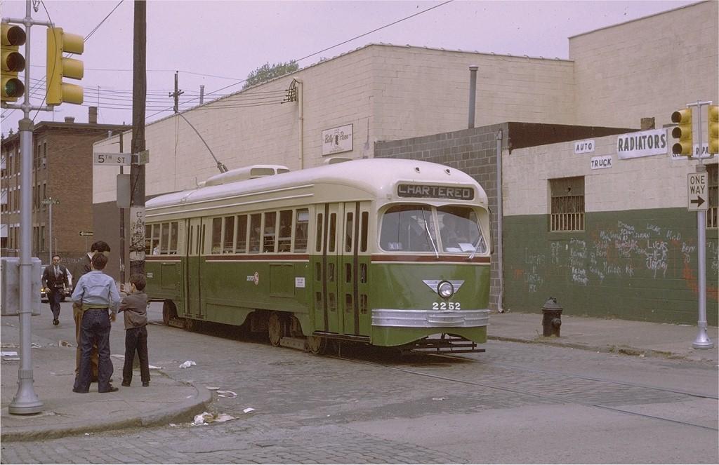 (181k, 1024x663)<br><b>Country:</b> United States<br><b>City:</b> Philadelphia, PA<br><b>System:</b> SEPTA (or Predecessor)<br><b>Location:</b> Oxford & 5th<br><b>Car:</b> PTC/SEPTA ex-Kansas City PCC (St.Louis, 1946)  2252 <br><b>Photo by:</b> Joe Testagrose<br><b>Date:</b> 5/2/1971<br><b>Viewed (this week/total):</b> 2 / 1884