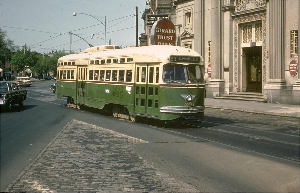(197k, 1024x658)<br><b>Country:</b> United States<br><b>City:</b> Philadelphia, PA<br><b>System:</b> SEPTA (or Predecessor)<br><b>Line:</b> Rt. 23-Germantown <br><b>Location:</b> Germantown/Broad/Erie <br><b>Car:</b> PTC/SEPTA Postwar All-electric PCC (St.Louis, 1947)  2741 <br><b>Photo by:</b> Joe Testagrose<br><b>Date:</b> 5/3/1969<br><b>Viewed (this week/total):</b> 2 / 1388