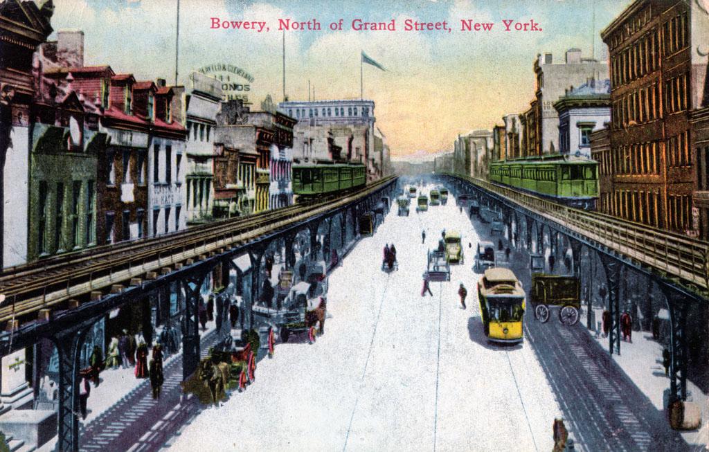 (249k, 1024x653)<br><b>Country:</b> United States<br><b>City:</b> New York<br><b>System:</b> New York City Transit<br><b>Line:</b> 3rd Avenue El<br><b>Location:</b> Along the Bowery <br><b>Collection of:</b> David Pirmann<br><b>Notes:</b> Postcard: Bowery North Of Grand Street, New York.<br><b>Viewed (this week/total):</b> 4 / 4137